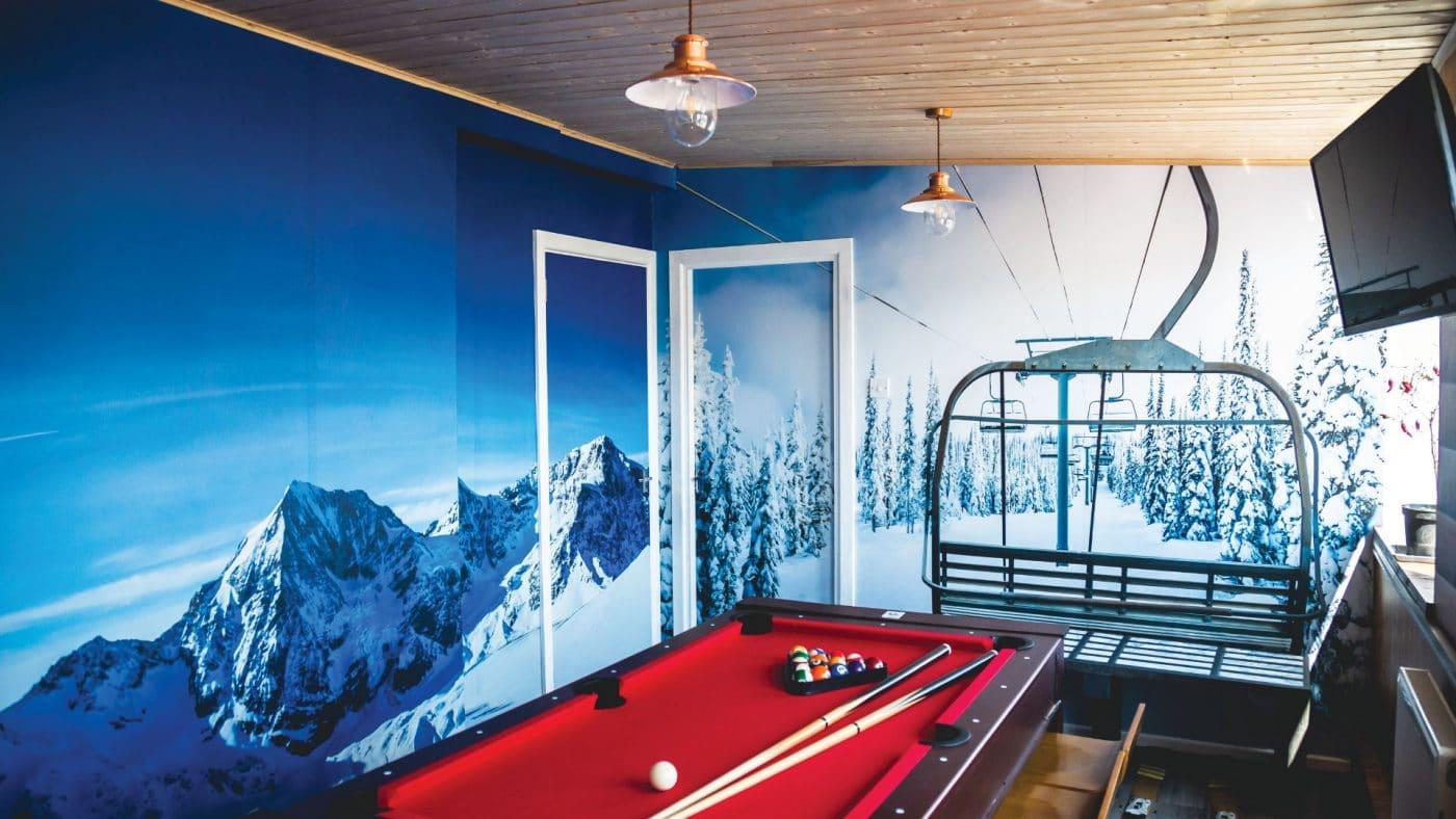 Pool Table with Custom Wall Graphics