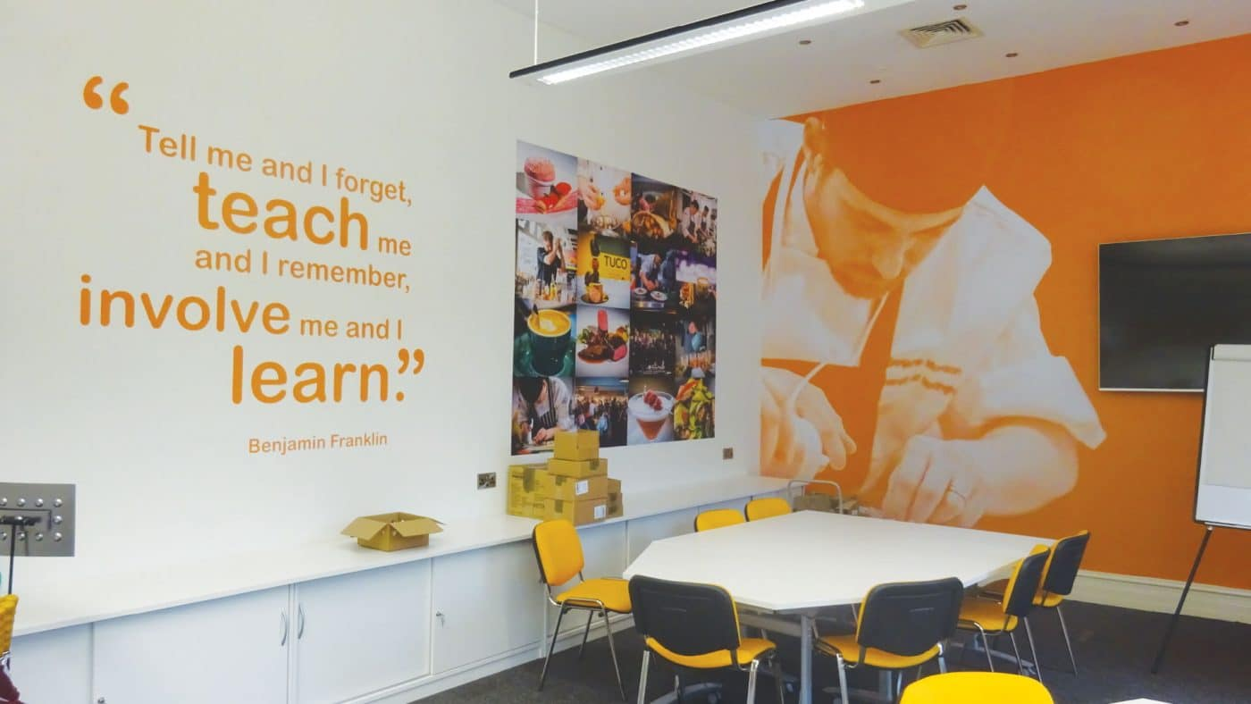 Orange Feature Wall and Quote at TUCO.