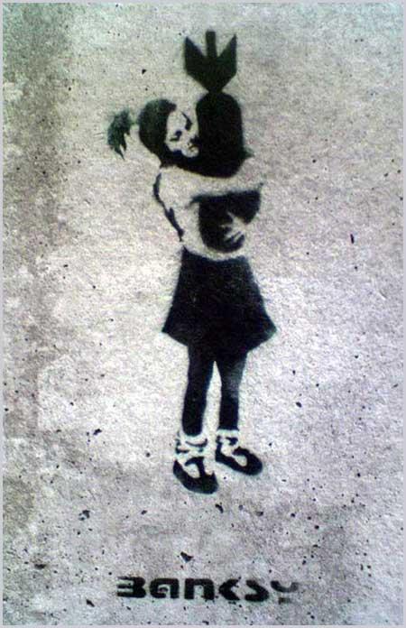 Banksy Bomb Hugger Girl